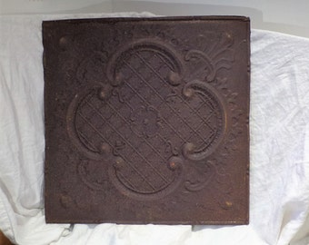 Tin Ceiling Tile, Large Quatrefoil Design, Neoclassical, Architectural Salvage from Chicago
