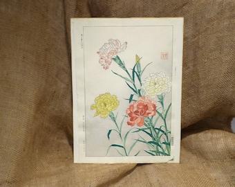 Shodo Kawarazaki Original Art, Carnation Spring Flower, First Edition, Japanese Wood Block Print