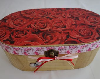 Red Rose design decoupage, applique and ribbon oval wooden box, for storage of treasured items, keepsakes or jewellery.