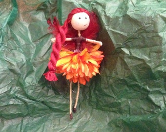 "Handmade Fairy- ""Autumn Fairy with feather wings"""