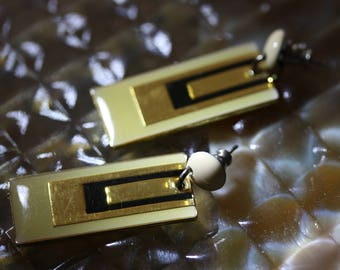 Vintage Art Deco (Modern) Yellow and Black Enamel Post Earrings