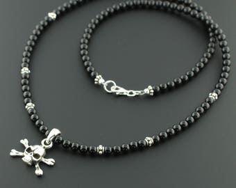 Men's 925 Sterling Silver 4mm Black Onyx Skull & Crossbones Necklace