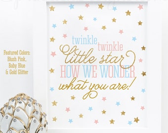 Twinkle Little Star How We Wonder What You Are - Printable Twinkle Little Star Gender Reveal Sign - Blush Pink Baby Blue Gold Glitter ts