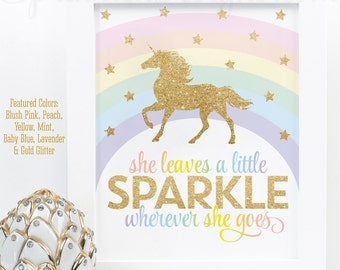 She Leaves A Little Sparkle Wherever She Goes Printable Sign, Rainbow Unicorn Birthday Party Decorations Unicorn Room Wall Art Nursery Decor