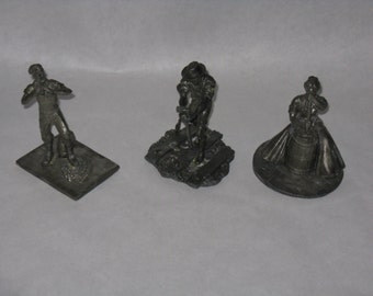 Set of 3 vintage pewter figurines The Lincoln Mint navigator plainswoman railroad man