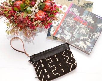 Black Leather Fanny Pack with African Mud Cloth - Leather Cross Body Bag - Small Black Leather Clutch - Perfect Travel Bag