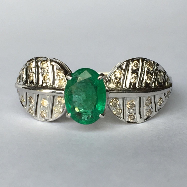 vintage emerald ring nouveau 18k gold