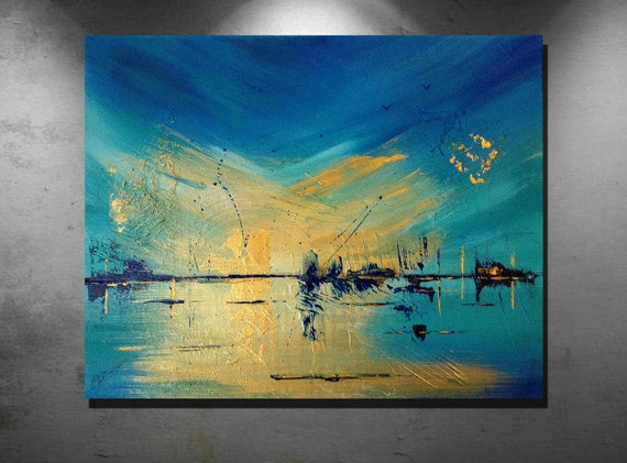 "Title  "" Gold Sunrise "" Abstract art, Acrylic paintings"