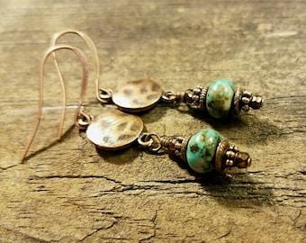 Turquoise and Copper Earrings, Turquoise Earrings, Boho Earrings