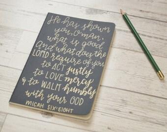 Micah 6:8 Journal - Scripture Journal - Hand Painted Journal - Hand Written Journal