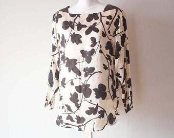 Flora Kung Special Edition Blouse / Vintage Dress / Vintage Blouse / Black and White / Short Dress / Silk Dress / Silk Blouse