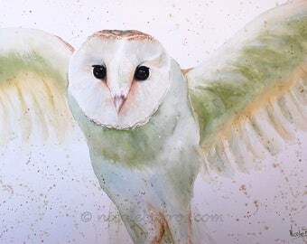 PRINT, Watercolour painting, Barn Owl painting , Animal Art, Home Decor, Watercolor Painting, Wildlife Art