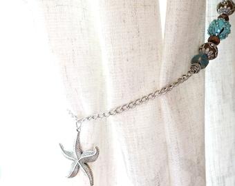 Beaded Curtain Tiebacks, Starfish Curtain Tie Backs, Starfish Window Treatment, Drapery Hold Back, Turquoise and Bronze Home Decor, Holdback