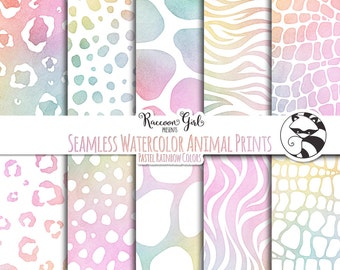 Seamless Watercolor Animal Prints in Pastel Rainbow Colors Digital Paper Set - Personal & Commercial Use