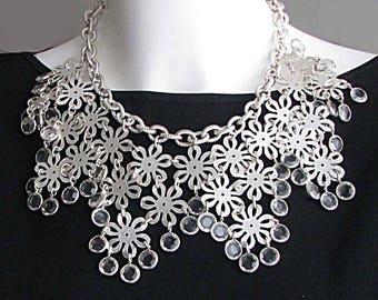 Vintage silver metal collar necklace