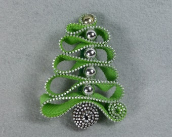 Christmas Brooch Made-To-Order - Silver Ornaments, Holiday Pin, Christmas Tree Pin, Christmas Pin, Christmas Tree Brooch, Upcycled, Recycled