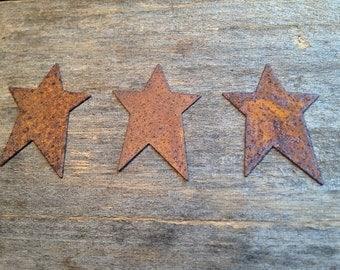 "1-3/4"" Rusty Tin Star. Package of three (3). Tin Stars. Rusty Tin. Metal Stars. Rusty Metal Stars. Rusty Stars. Rusty Tin Embellishments."
