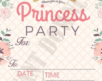 Floral girls princess gold crown birthday invitation, print at home, digital file 5x7 INSTANT DOWNLOAD, party supplies