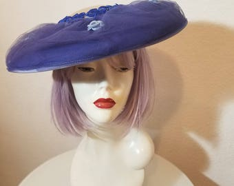 FREE  SHIPPING   1950 Wide Brim Saucer Hat
