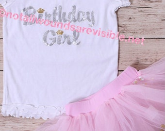 Birthday girl shirt and skirt with crowns and confetti 12-18 months only LIMITED QTY