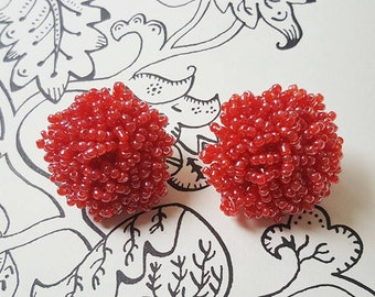 Orecchini Earrings Geranium Beads Clip 1940's 1950's Pin Up Rockabilly Style Vintage Inspired