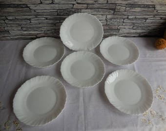 A set of 6 white Arcopal dessert plates #2