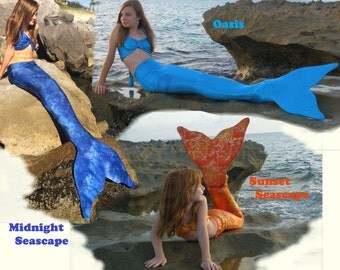 Mermaid Tail With Monofin Included. Many Colors. Child to Adult Swimmable Mermaid Tail Outfits