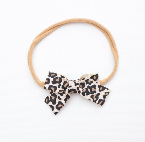 Leopard Baby Bow Headband or Clip // nude nylon headband / small bow /cheetah / classic bows/ sailor bow / barrettes