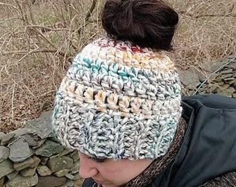 Crochet Messy Bun Ponytail Hat // Crochet Bun Ponytail Beanie // Running Hat // Sister Friend Gift // Rainbow Bright