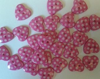 pink heart buttons, buttons, spotty buttons, polka dot buttons, pink heart, matildas crafts, sewing buttons, bulk buttons, uk seller, crafts