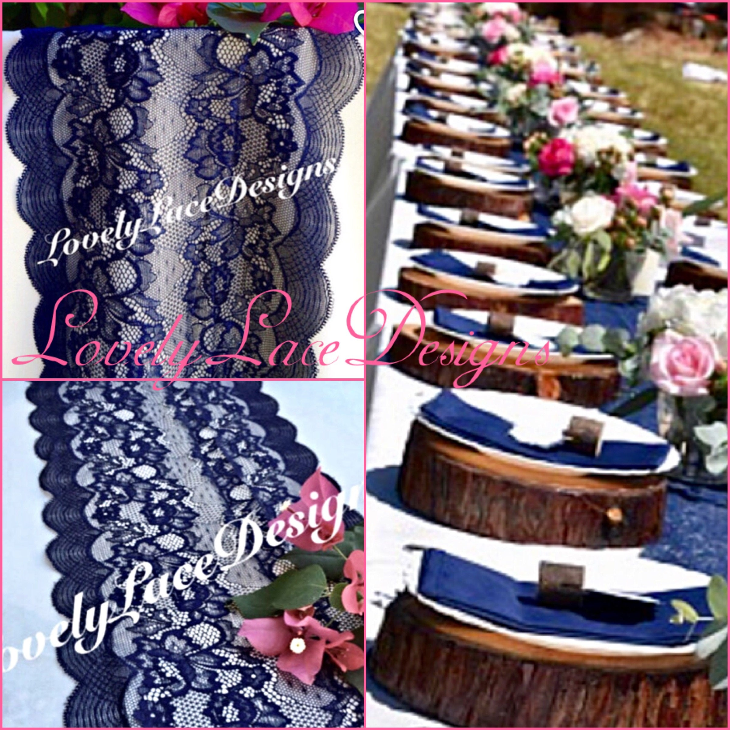 NAVY Weddings/ Navy Blue Lace Table Runner/Wedding Decor/ 3ft 10ft Long X  9wide/ Tabletop Decor/overlay/Centerpiece/Navy Decor/FREE Runner
