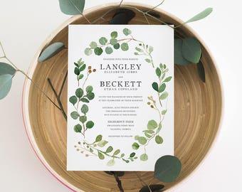 Printable Wedding Invitation Set | Botanical Leaf Invitations | Rustic Wedding Invitations | Invitation, RSVP, Details Card | WI-041