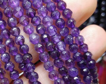 Faceted Amethyist Beads, 4 mm Amethyist Beads, Gemstone Beads, Semiprecious Stones, Jewelry Design, Wholesale Beads b40