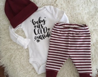 NEW! Baby it's Cold Outside/Maroon and White Stripe/Newborn Outfit/Bring Home Outfit/Leggings and Top Knot Hat