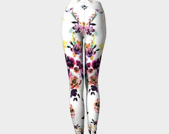 Floral White Women's Leggings multi-colored flowers yellow purple pink green