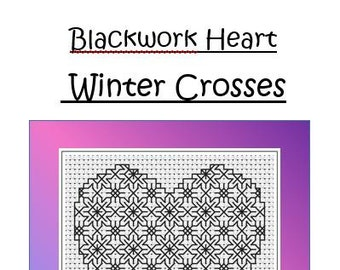 Blackwork Heart Embroidery Chart ~ Winter Crosses