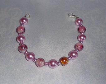 Mauve Pearl And Lampwork Glass Bracelet