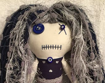 "Creepy n Cute Zombie Doll ~ ""Deep Dark Blue and Grey Hearts & Spiders"" Gal (P)"