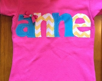 Hot Pink, Turquoise, and Yellow Fabric Letter Applique Name Baby Bodysuit or Shirt