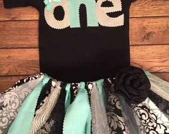 Aqua, Silver, and Black Birthday Tutu Outfit