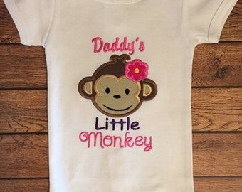Pink and Purple Daddy's Little Monkey Embroidered Shirt or Baby Bodysuit