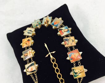 Vintage Virgin Mary Portraits Index Bracelet