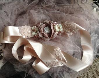 Wedding gown sash.  Ball gown sash