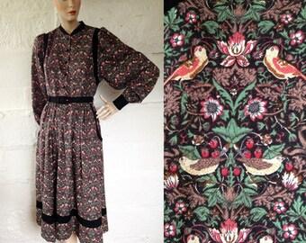 1970s 'Origin' Bird & Blossom Diamictite Liberty Print Folk Dress / 70s Liberty Dress / Vintage Peasant Dress / SIZE UK 10-12