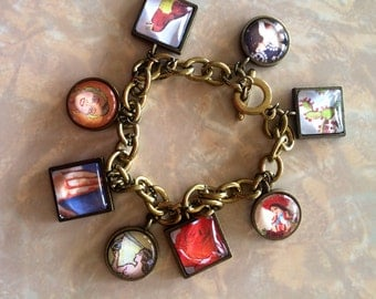Hand Made Colorful Glass Images Charm Bracelet