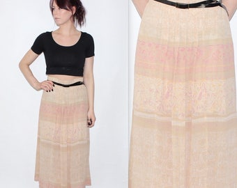"""Vintage 1980's Beige Cream Red FLORAL Patterned HIGH Waisted MIDI Skirt Size 12 Waist 29"""" 30"""""""