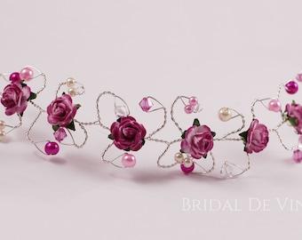 Pink  and Fuchsia Cerise  Hair Vine  Bridesmaids Hair Accessory Hair Up Bun Wrap