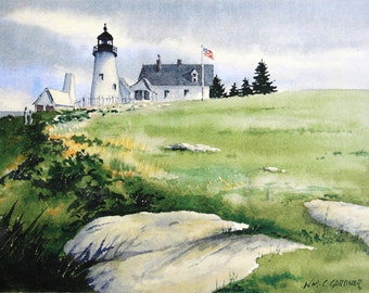 """Pemaquid Lighthouse, Maine - Watercolor Ltd. Ed. Print  double matted 11"""" x 14"""""""