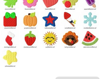 """Set of 21 embroidery designs - 1"""" mini filled embroidery designs - monogram add on embroidery designs - feltie embroidery designs - Holiday"""