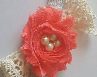 Coral and lace baby headband with pearl center